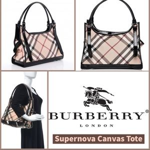 COPY - Burberry Supernova Plaid Tote leather trim…